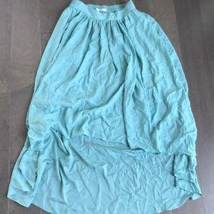 Flowy mint high low skirt